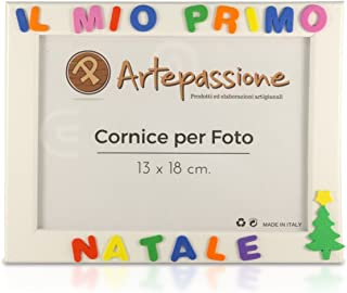 Cornici per foto in legno con scritto IL MIO PRIMO NATALE decorata con l'albero di natale, da appoggiare o appendere, misu...