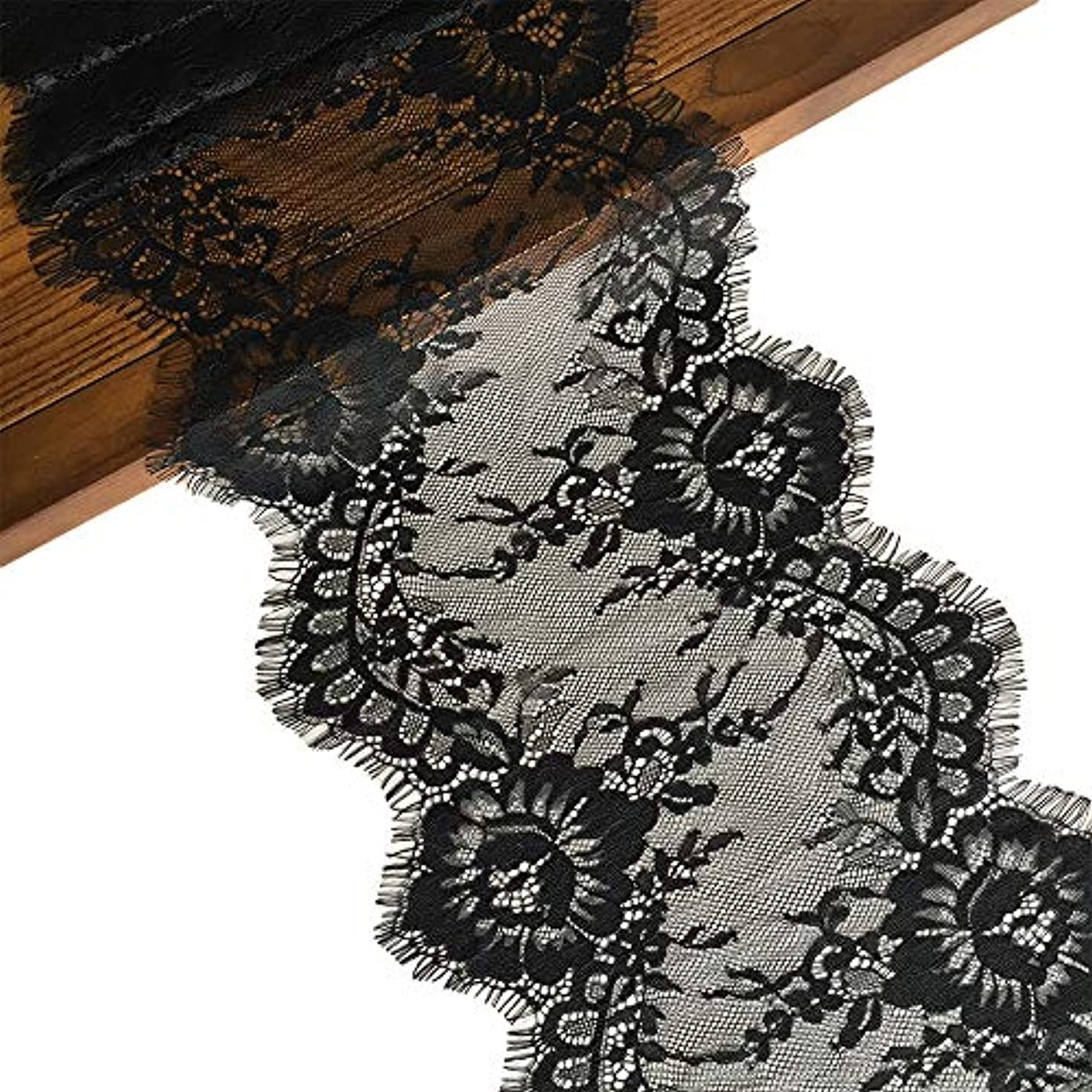 LaceRealm 9 Inch Wide Eyelash Lace Fabric Floral Pattern Lace Trims for Sewing Dress Home Decor Fabric & Textile Paints (Black)