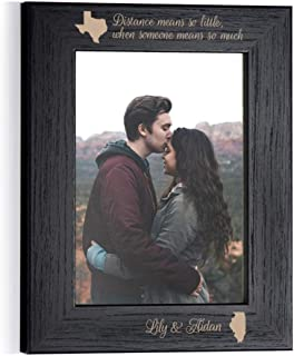 Engraved Personalized Long Distance Relationship Picture Frame 5x7 Frame (Black): Long Distance Relationship Frame, Long Distance Girlfriend Gift