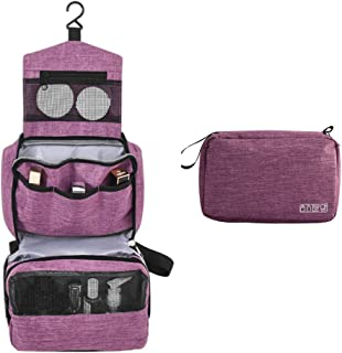 Hanging Travel Toiletry Bag, iSPECLE Organizer Dopp Kit with Handle for Cosmetic, Toiletries,for Women Purple