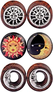 D&M Jewelry 6pcs 0G-3/4 Sun Moon Organic Wood & Acrylic Screw Ear Tunnels Plugs Expander Set