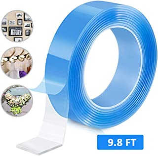Double Sided Adhesive Silicone Tape Washable Adhesive Grip Tape, Traceless Removable Reusable Adhesive Tape Clear Gel Nano Grip Tape for Crafts Paste Photos Fix Carpet Mats or Office Wall