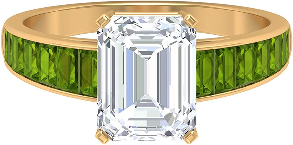 D-VSSI Moissanite and outlet Peridot Ring MM 7X9 Award-winning store Moissan Octagon Shape