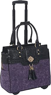 JKM and Company THE CONTESSA Purple & Black Alligator Faux Leather Compatible With Computer iPad, Laptop Tablet Rolling To...