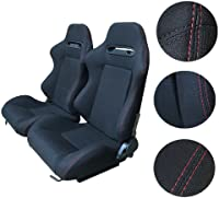 AutoForever 2pcs Universal Faux Leather Reclinable Racing Seats Black with Red Stich Left /& Right