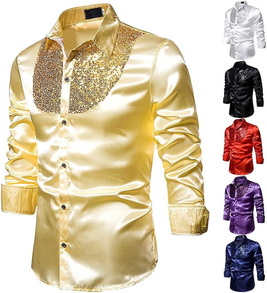 Men's Luxury Shiny Dress Shirt Long Sleeve Button Down Party Nightclub Sequins Shirts Top
