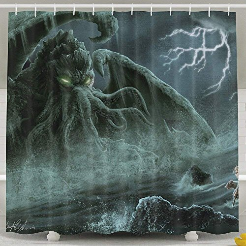CHATAE Pictures of Funny and Happy Cthulhu Monster-Duschvorhang, 152,4 x 182,9 cm, 100prozent Polyester