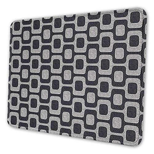 Abstrakte DIY-Mauspad moderne weiße und schwarze Welle Pflaster Muster fraktal aussehende Mosaik Mauspad für Frauen glitzern schwarz hellgrau weiß