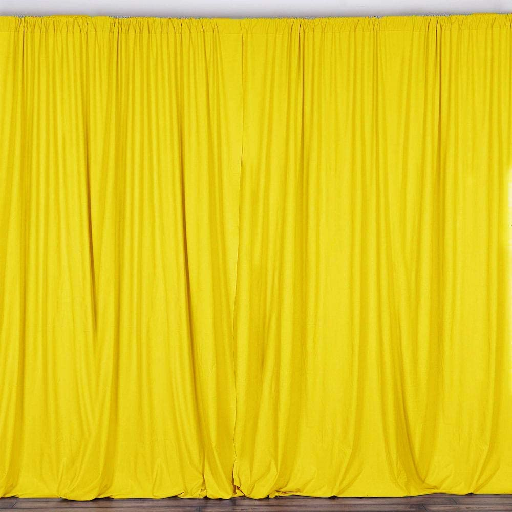 AK TRADING CO. 10 feet x 8 feet Polyester Backdrop Drapes Curtains Panels with Rod Pockets - Wedding Ceremony Party Home Window Decorations - Lemon Yellow (DRAPE5X8-YELLOW-2PACK)
