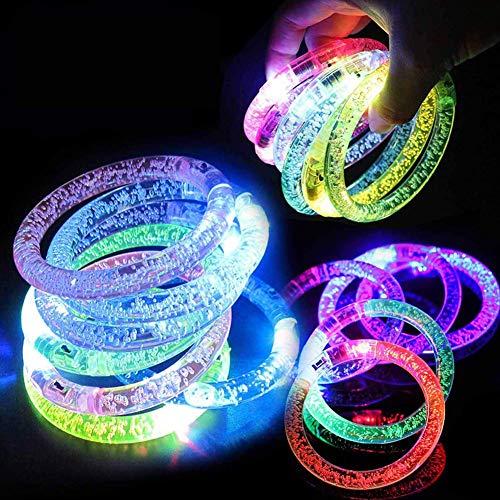 Danolt 18 Pezzi Flash Bracciale Polsino con Luce Colorata a LED Acrilico Glow in Dark Giocattoli Luminosi per Bambini Festa di Carnevale di Musica di Compleanno