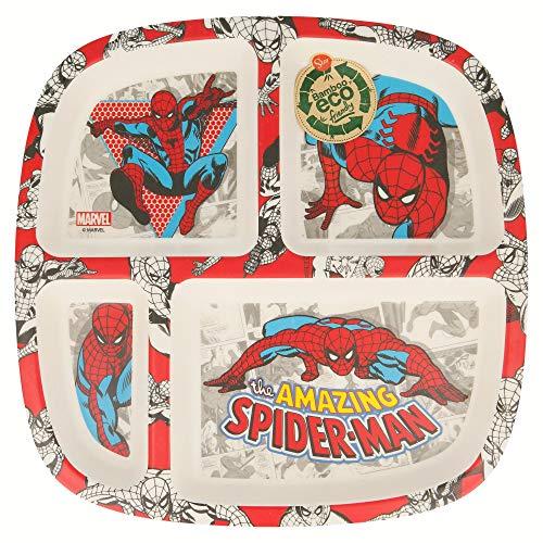 STOR Teller, Bambus, geteilt, Spiderman Comic, Schwarz, Medium