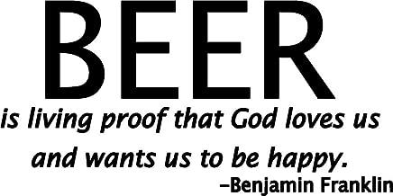 ملصق مائي من الفينيل مطبوع عليه عبارة Beer is Living Proof That God Loves Us | شاحنات السيارات والشاحنات والحوائط وأجهزة الكمبيوتر المحمولة على شكل زجاجة بيرة | أسود| 7. 5 بوصة|KCD588
