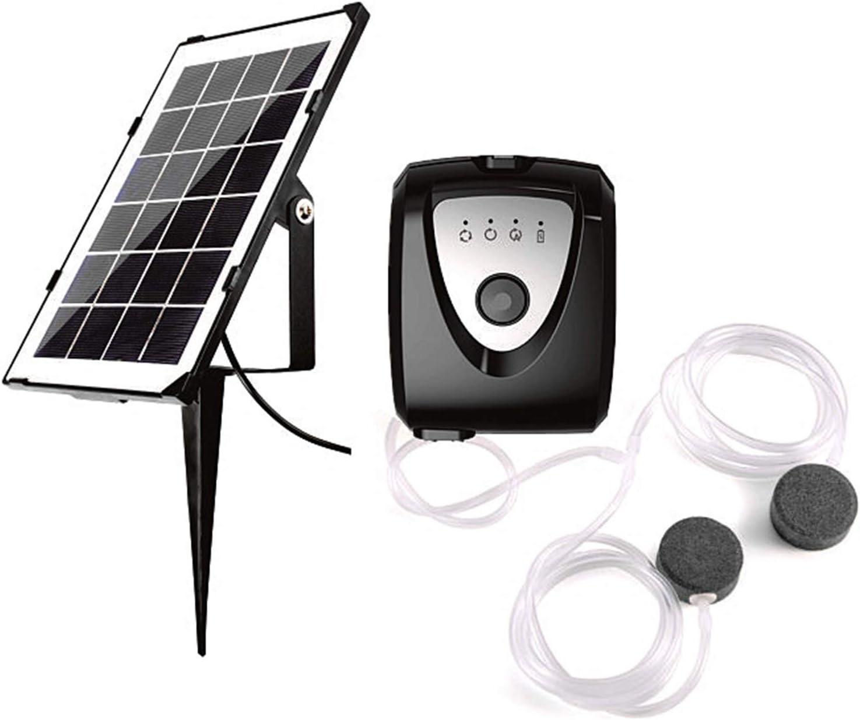 Blusea Aeratore Solare Professionale 3,5W, Pompa per Aria Acquario Ossigenatore per Serbatoio di Pesce con Doppio Tubo per Acquario e Pietra a Bolle d'Aria, Ricaricabile, per Pesca Giardino Stagni