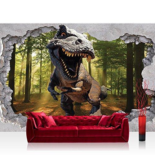 Vlies Fototapete 208x146 cm PREMIUM PLUS Wand Foto Tapete Wand Bild Vliestapete - Sonstiges Tapete Loch Kunst Mauer Dinosaurier Sonne Blick Ausblick Wald Baum 3D grün - no. 4332