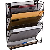 5 Pocket Wall Mounted File Hanging Organizer Metal Mesh Office Home Folder Binder Holder Magazine Mail Rack + Hardware, Black
