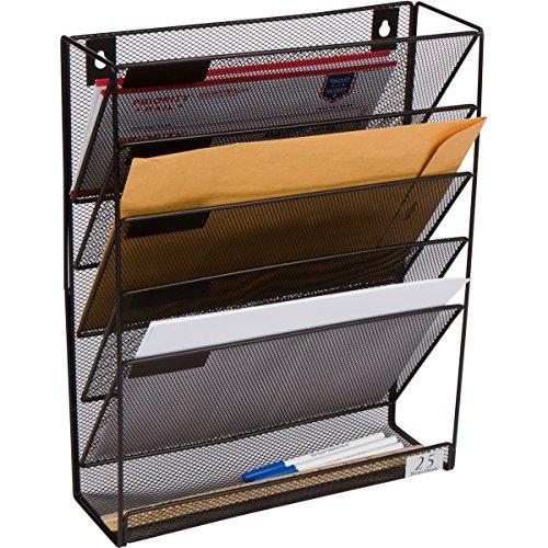 5 Pocket Wall Mounted File Hanging Organizer Metal Mesh Office Home Folder Binder Holder Magazine Mail Rack  Hardware Black