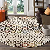 Safavieh Amsterdam Collection AMS108K Southwestern Bohemian Ivory and Multi Round Area Rug (5'1' in Diameter)