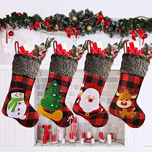 "ACMETOP Christmas Stockings 4 Pack, 18"" Large Xmas Stockings with Plush Faux Fur & Buffalo Plaid, Personalized Christmas Stockings for Fireplace, Christmas Tree, Bed, Christmas Home Decorations"