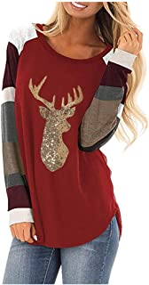 Womens Sequin Cute Elk Print Christmas Stripe Plaid Long Sleeve O Neck Casual Tops Blouses Shirts