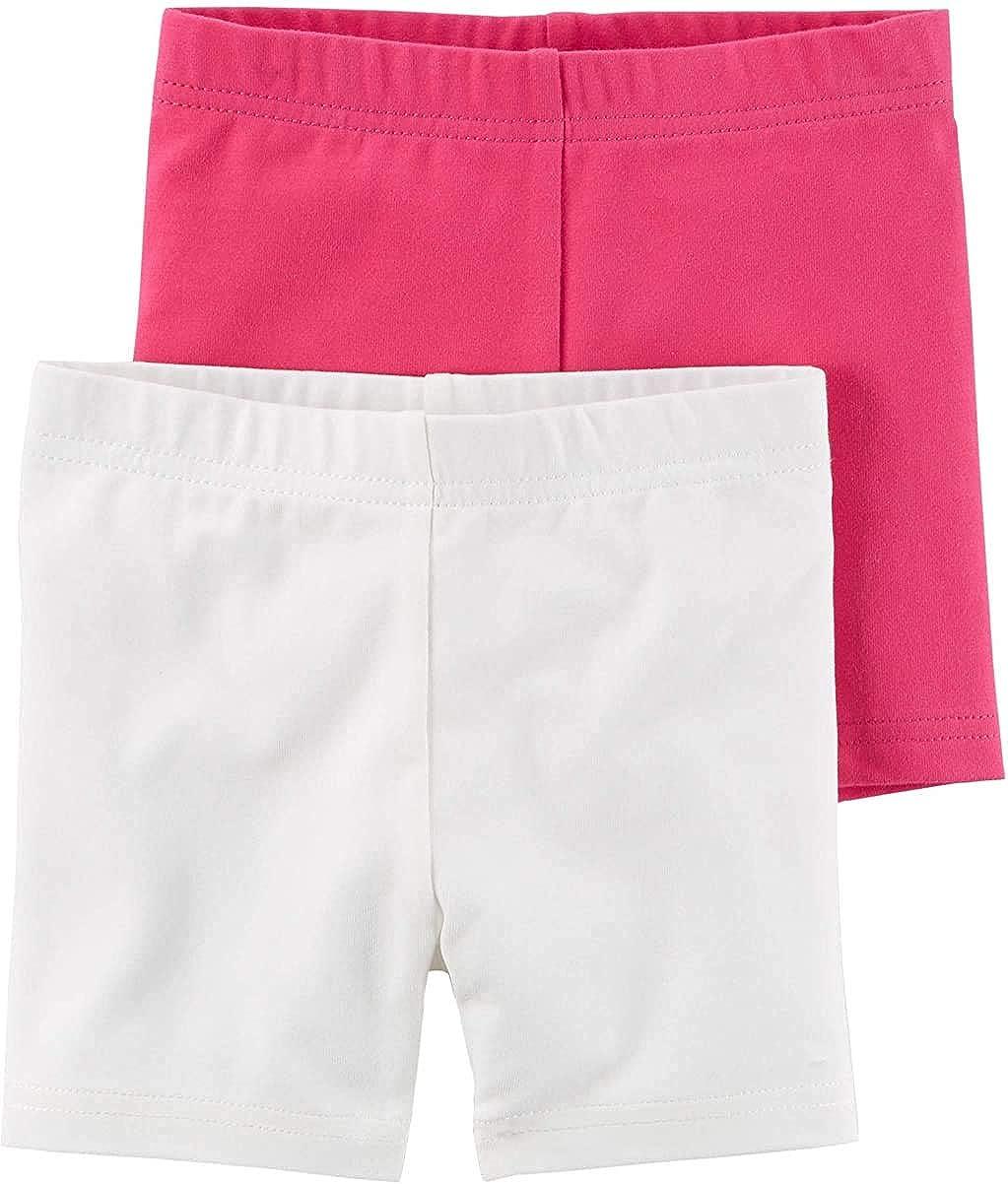 Carter's Baby Girls' 2-Pack Tumbling Shorts- Pink & White