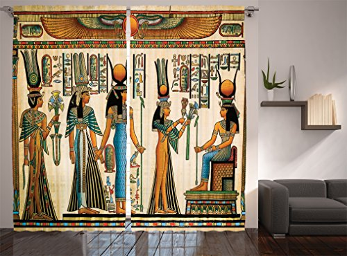 """Ambesonne Egyptian Print Curtains, Egyptian Papyrus Depicting Queen Nefertari Making an Offering to Isis Image Print, Living Room Bedroom Window Drapes 2 Panel Set, 108"""" X 84"""", Teal Orange"""