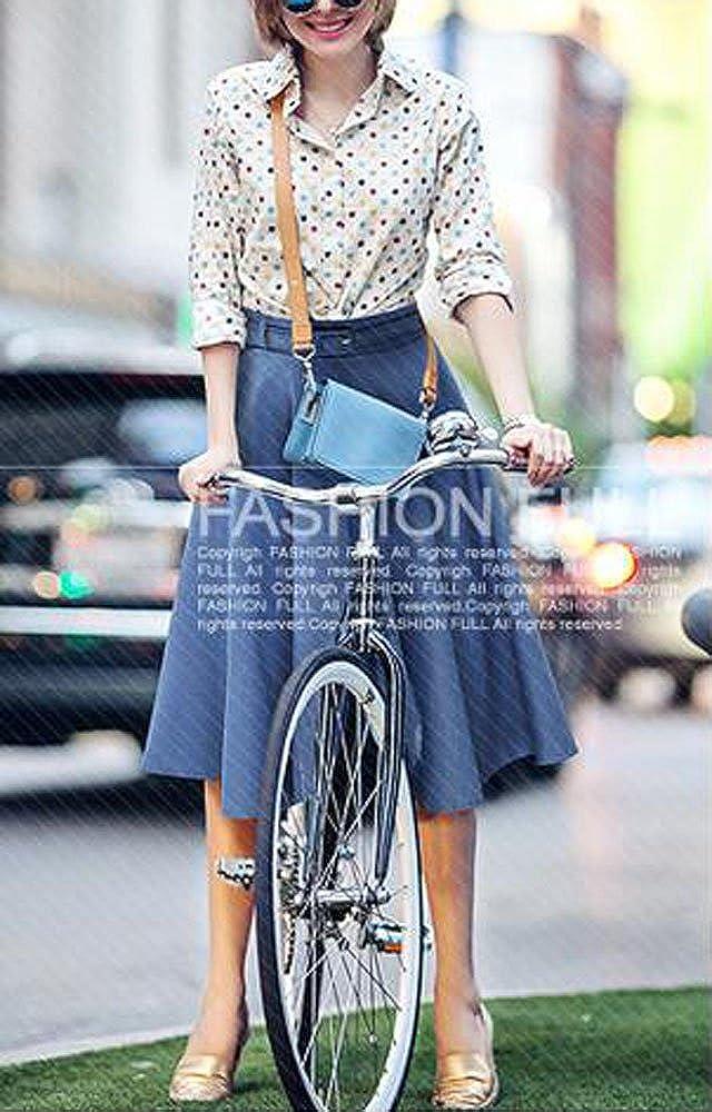Allonly Women's Denim A-Line Elastic Waist Pleated Midi Skirt Knee Length with Belt