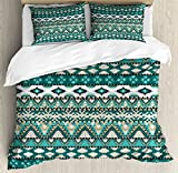 Ambesonne Ethnic Duvet Cover Set, Design Geometrical Elements Triages Squares Primitive Pixel Art, Decorative 3 Piece Bedding Set with 2 Pillow Shams, Queen Size, Turquoise Teal