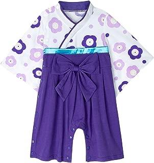 BECOS ベビー 女の子 袴風 和装 ロンパース カバーオール お食い初め(パープル, 12-18ヶ月)