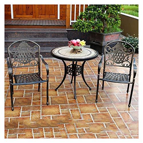 DYYD - Juego de mesa para bistró al aire libre, juego de mesa y sillas de jardín de 3 piezas