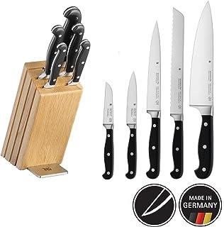 WMF Spitzenklasse Plus Messerblock mit Messerset 6-teilig, 5 Messer geschmiedet, 1 Block aus Eichenholz, Performance Cut, Spezialklingenstahl