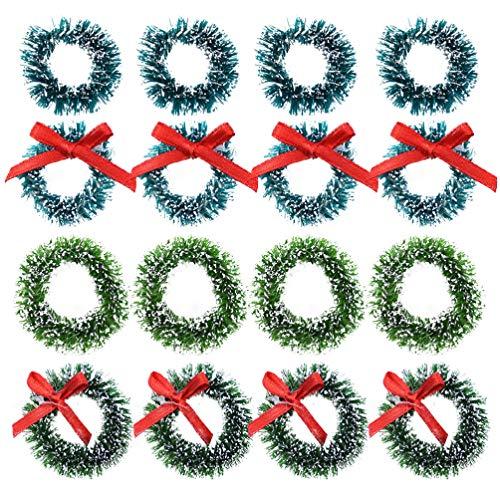 Amosfun 16 Stück 2.5CM 3CM Mini Weihnachtskranz Miniatur Kranz mit Schleife Dekokranz Adventskranz Weihnachtsschmuck Weihnachtsbaum Anhänger Puppenhaus Dekoration Ornament Weihnachtsdeko