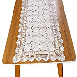yazi Handmade Crochet Doily Lace Rectangle Tablecloth Lovely Flower Table Cloth Doilies,Beige,23.6 x 47.3inch (Beige, 23.6 x 47.3inch)
