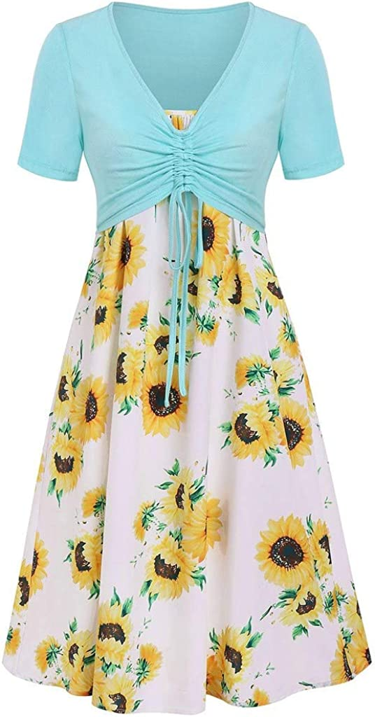 Kirbaez Womens 25% OFF Ranking TOP14 Summer Casual Short Sleeve Floral Pr Knot Bow Top