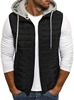 Makkrom Mens Puffer Vest Jacket Quilted Removable Hooded Sleeveless Zip Up Warm Winter Outwear Jacket Gilet