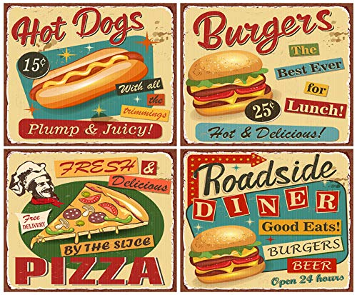 "DIY 5D Diamond Painting Kit Retro Fast Food Vintage Diner Sign Burger Restaurant 1950S Menu Metal 12"" X 16"" Adult Full Drill Rhinestone Cross Stitch Art Crafts for Home Decoration"