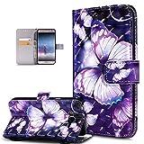 Galaxy J7funda, Samsung Galaxy J7funda, ikasus 3d Colorful Painted diseño de mariposas Premium sintética funda de piel tipo Fold Funda tipo cartera funda de cierre magnético estilo libro con tarjete