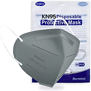 50PCS KN95 Face Mask Respirator Cup Dust Safety Masks Breathable 5 Layer with Elastic Ear Loop and Nose Bridge Clip for Pe...