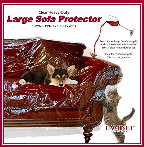 LAMINET Thick Crystal Clear Heavy-Duty Water Resistant Sofa/Couch Cover -...