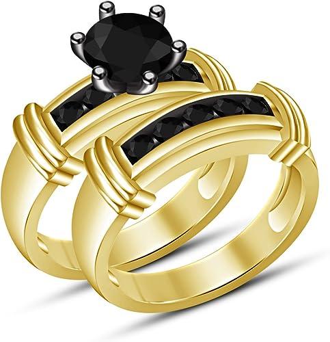 Moda Vorra 925plata de ley Brilliant corte rojoondo negro Zirconia cúbico anillo Set para las mujeres, las niñas adolescentes