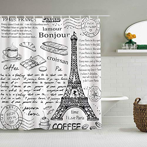 NOLOVVHA Cortina de Ducha,Elementos parisinos Famosos Tradicionales parisinos Bonjour Croissan Coffee Eiffel Tower Print,Tejido de poliéster - con Gancho,180x180