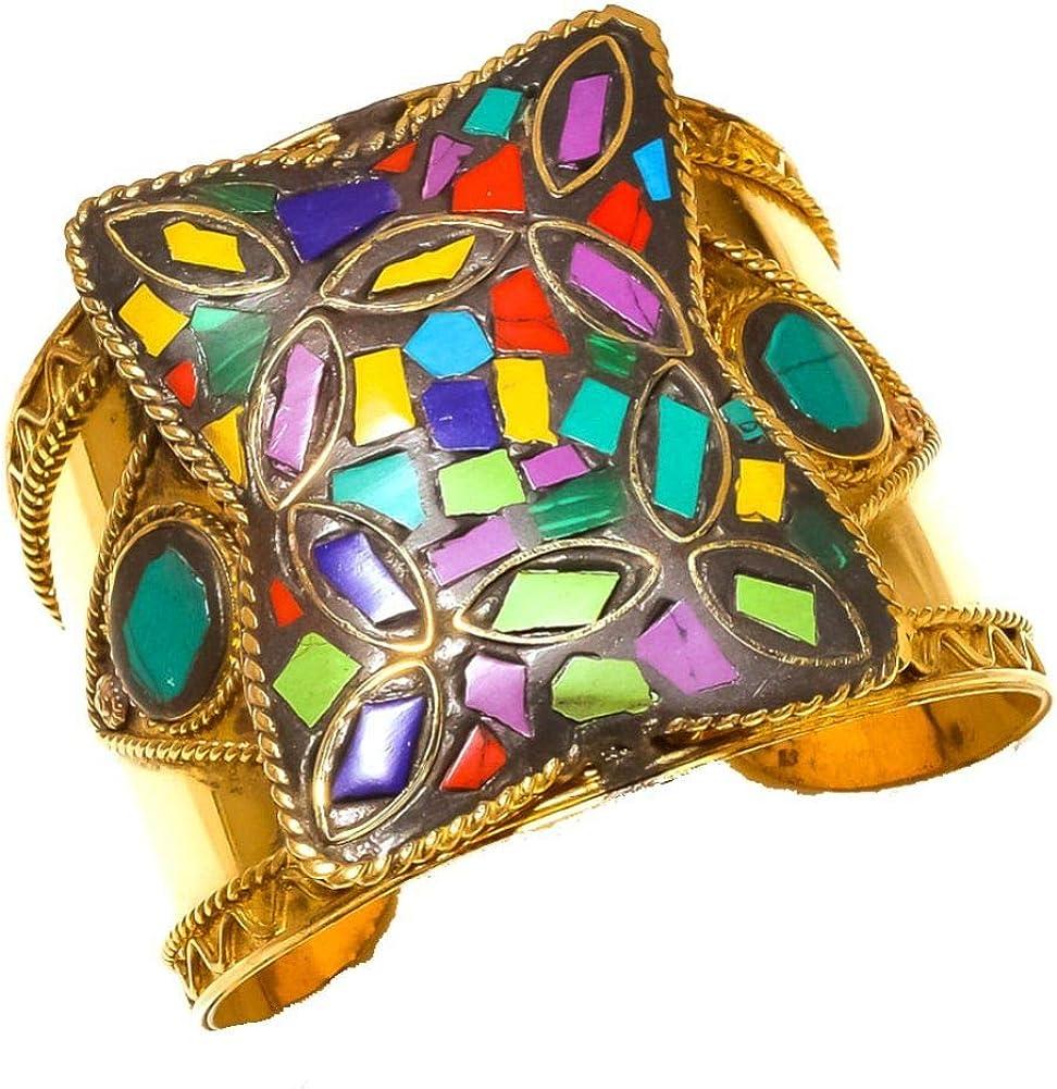 Shivi Nepali Work Blue Turuqoise, Coral, Lapis Cuff/Bracelet Free Size Brass Metal, Handmade Jewelry from