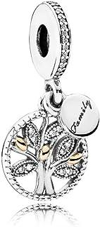 Pandora Women's Bead Pendant Silver and Gold 791728CZ Female Family Tree zircons, Silver