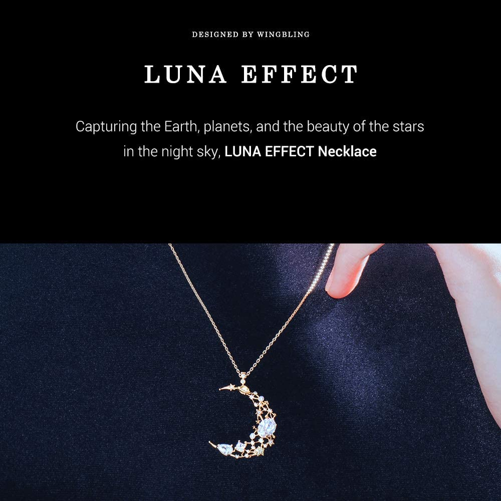 Wingbling Luna Effect Crescent Moon Pendant Long Chain Necklace for Women