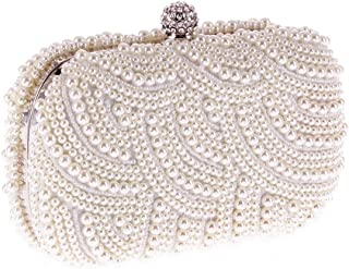 HUIfenghe Women's Exquisite Fashion Wedding Dinner Bag Rhinestone Crystal Pearl Bag Wild Dress Shoulder Chain Clutch Bag Size: 17 * 4 * 12cm (Color : White)