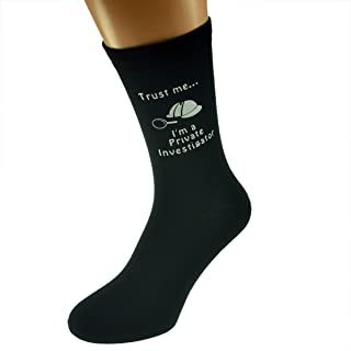 Trust me I'm a Private Investigator & Hat and Magnifying Glass Image Design Mens Black Cotton Rich Socks