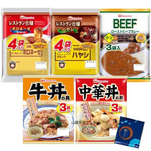 日本ハム レトルト ご飯 と パスタ の 具 5種類 17食 セット 小袋鰹ふりかけ1袋 セット