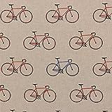 Gardinenstoff Dekostoff Fahrrad natur blau rot 1,40m Breite