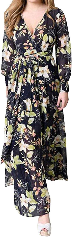 ROVLET Women Chiffon Floral Long Sleeve Dress Bohemian Chiffon Wrap Boho Maxi Dresses Sundress