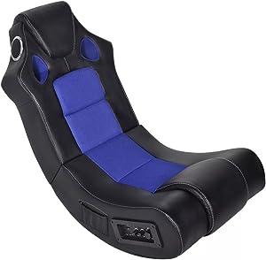 XINGLIEU–Sillón Mecedora Altavoz Piel sintética con Negro Azul 51x 94x 78cm (L x P x H) Silla salón