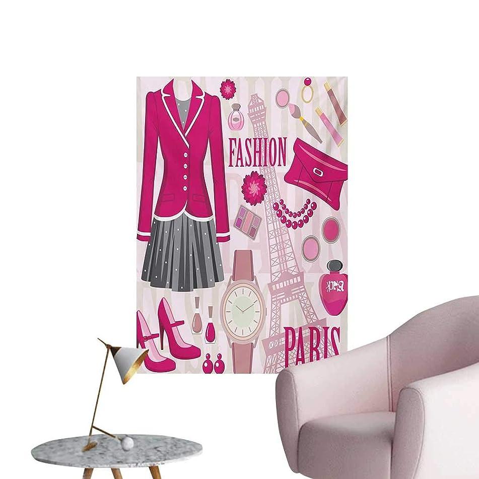 Anzhutwelve Girls Wallpaper Fashion Theme in Paris with Outfits Dress Watch Purse Perfume Parisienne LandmarkPink Biege W20 xL28 Custom Poster